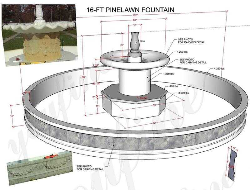 drawing of marble water fountain