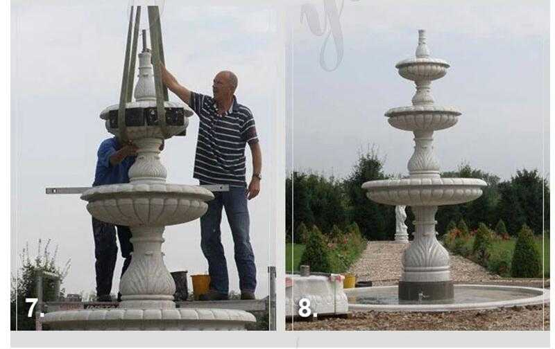 installation of marble water fountain