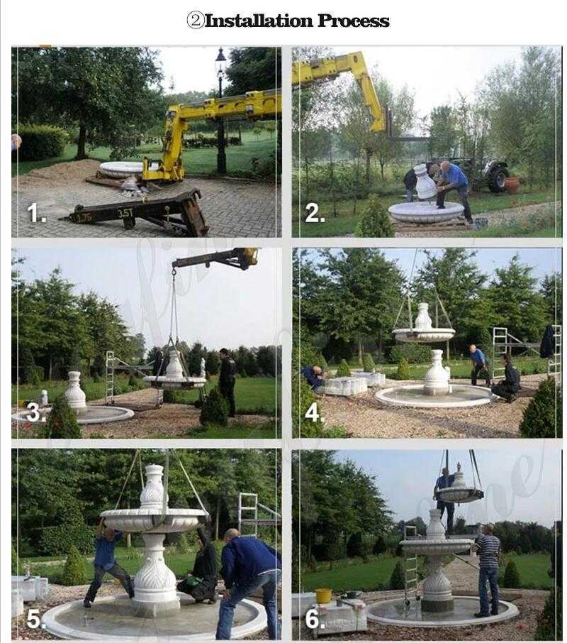 installation process of marble water fountain