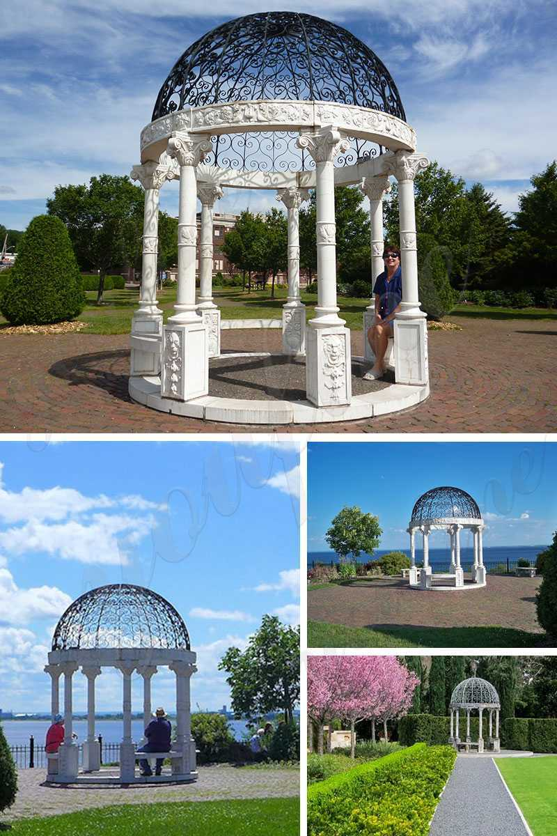 modern white marble gazebo for backyard