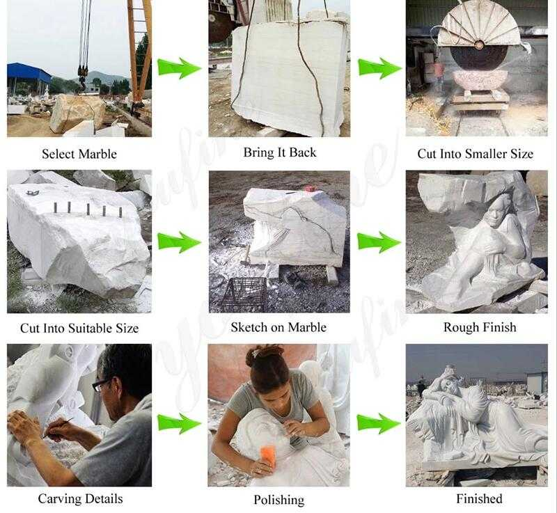process of carving saint michael statue
