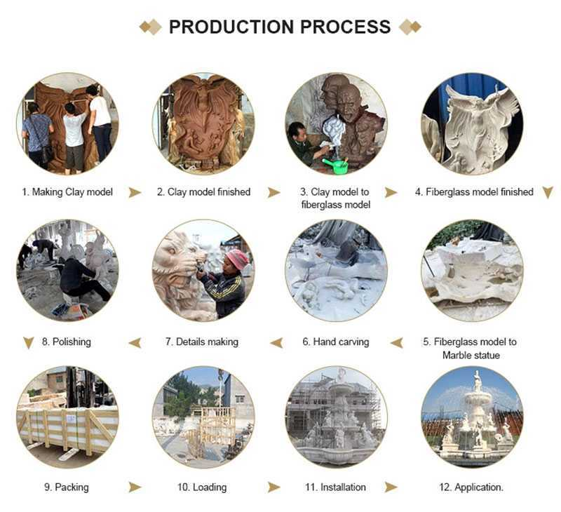 process of carving the marble sculpture