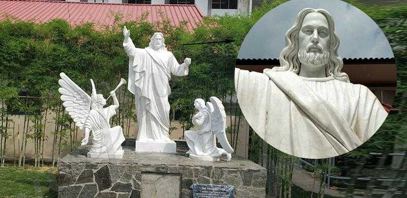 white marble jesus statues with angels design for church from Singapore for sale
