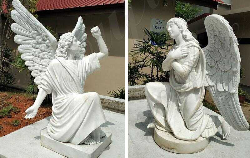white marble outdoor jesus statue with angels design for church from Singapore for sale