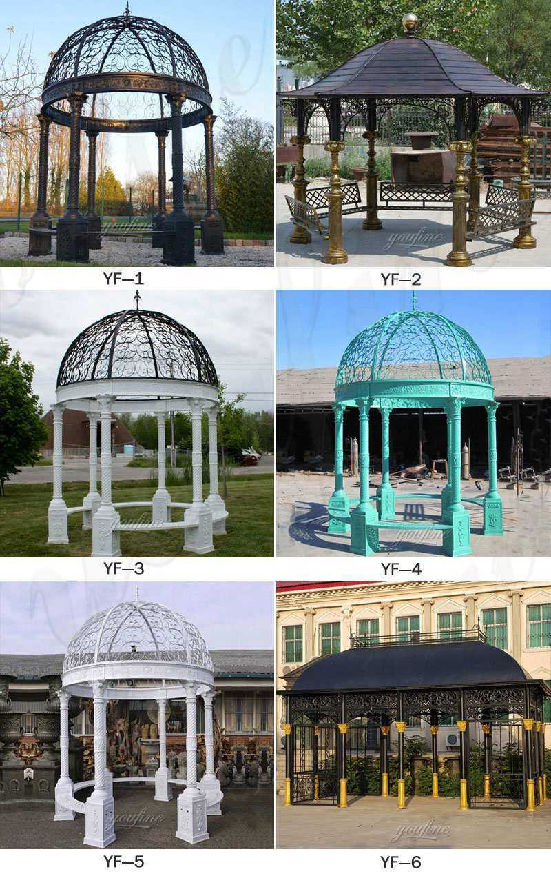 Buy outdoor metal art antique cast iron gazebo for wedding designs for sales