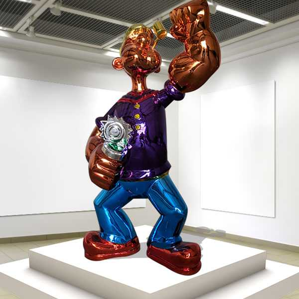 Famous Stainless Steel Balloon Jeff Koons Popeye Statue Replica for Sale CSS-87