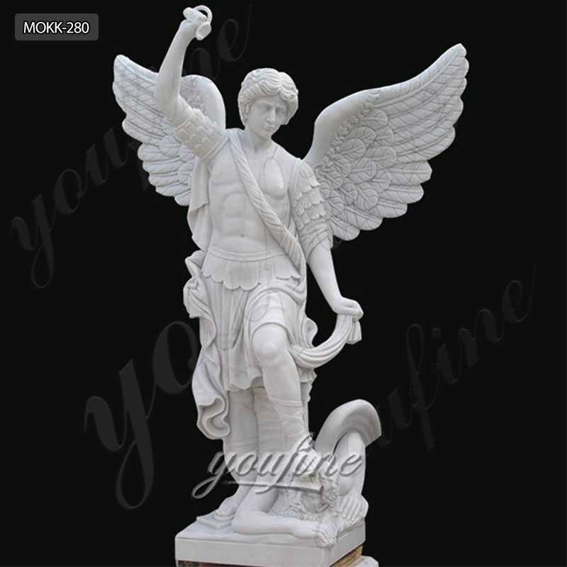 Pure White Marbe Outdoor Decor Garden Angel Statue of St Michael MOKK-280