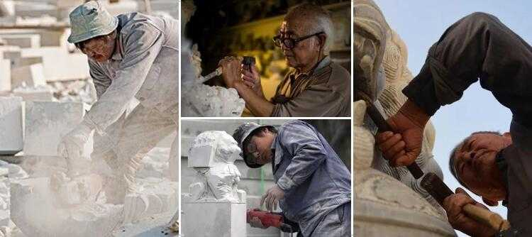 carving process of marble stone