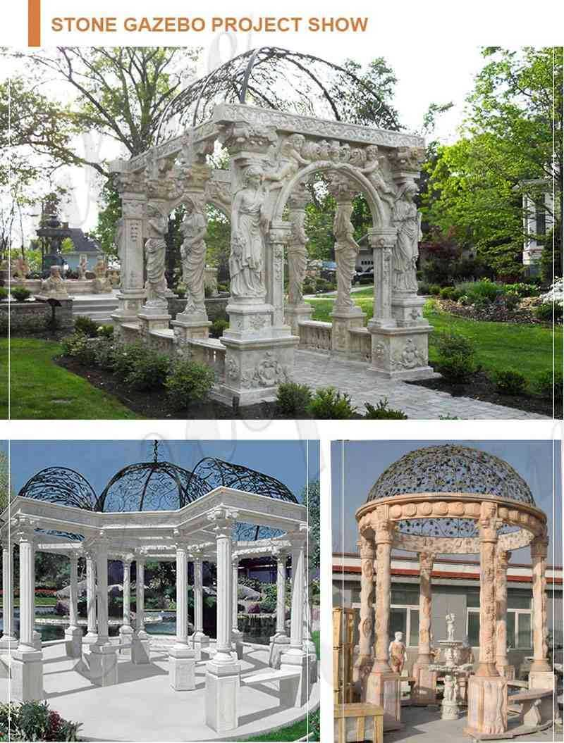 hand carved white stone marble gazebo