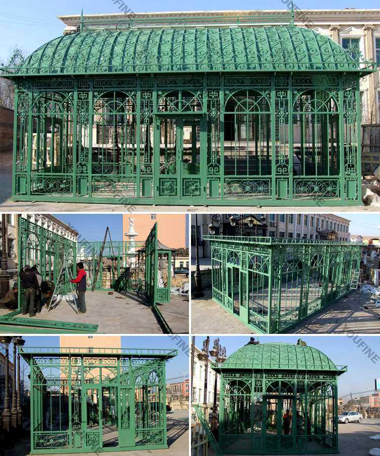 large outdoor metal wrought iron wedding gazebo