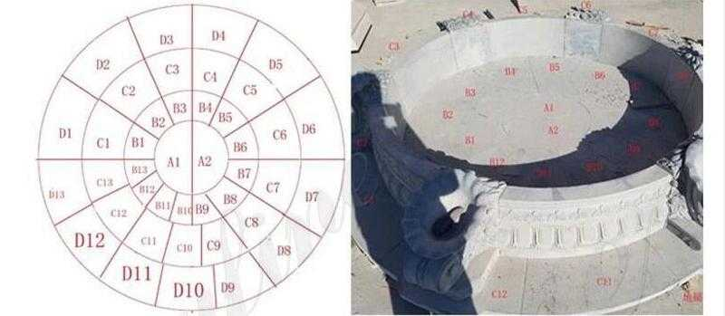professional installation drawings for marble tiered water fountain