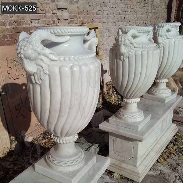 Hot Sale Customize White Marble Planter Pure Hand Carved Design for Garden or Indoor Decor–MOKK-525