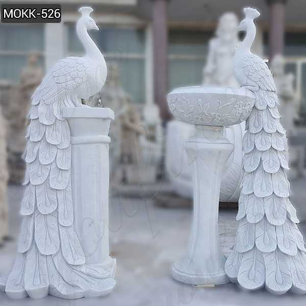 Large Hand Craved White Marble Planter Peacock Animal Sculpture Flower Pot MOKK-526