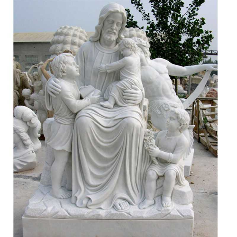 Life Size Famous Catholic Church Saint Christ Jesus with Child White Marble Outdoor Statue