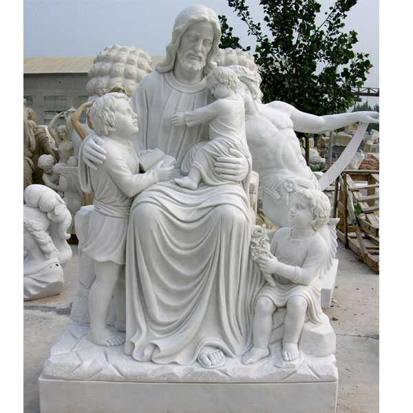 Life Size Famous Catholic Church Saint Christ Jesus with Child White Marble Outdoor Statue for Sale
