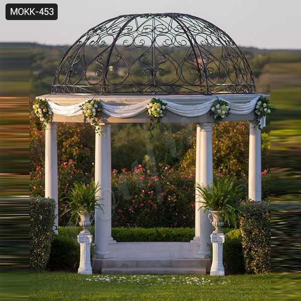 Outdoor Garden Ornament Marble Stone Gazebo Weddings Ceremony Design for Sale MOKK-453