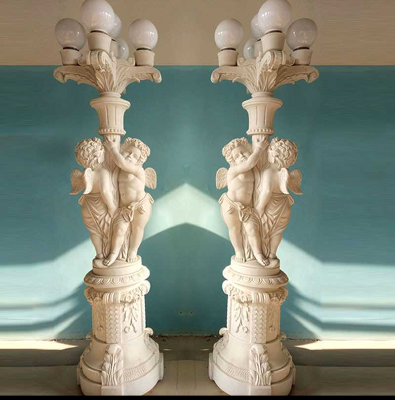 Outdoor Marble Angels Statue Lamps for sale
