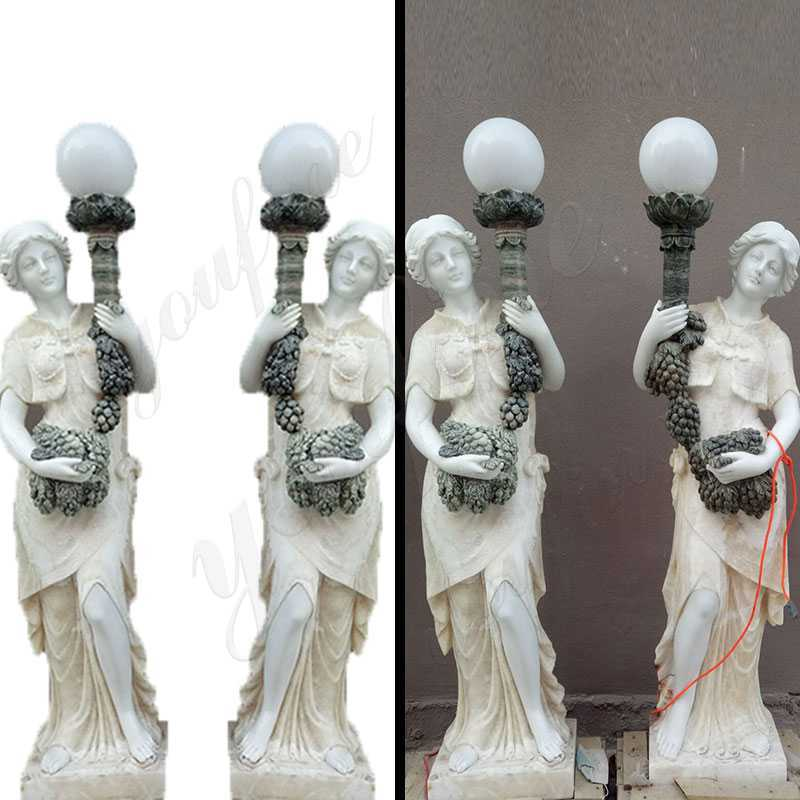 Outdoor decoration marble lady lamp statue for sale