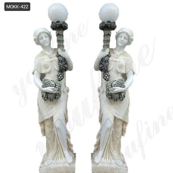 Paired Garden Decoration Marble Lady Figurine with Lamp Statue for Sale MOKK-422