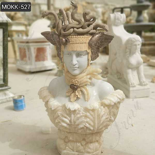 Famous Greece Medusa Marble Sculpture Pure Hand Carved Bust Statue on sale–MOKK-527
