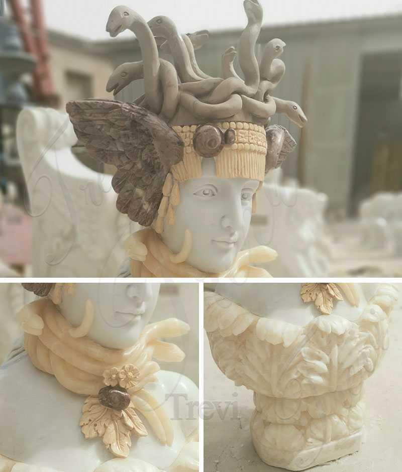 Pure Hand Medusa Marble Sculptures