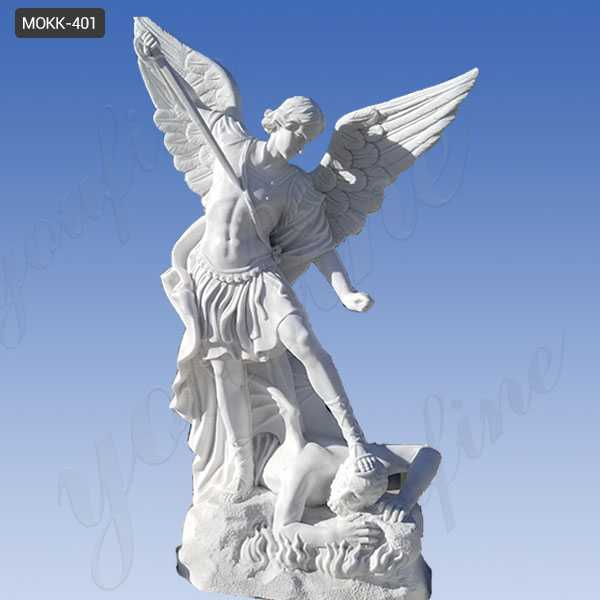 Famous White Marble Saint Michael the Archangel Slaying Demon Statue for Sale MOKK-401