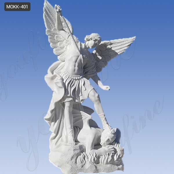 Famous White Marble Saint Michael The Archangel Slaying