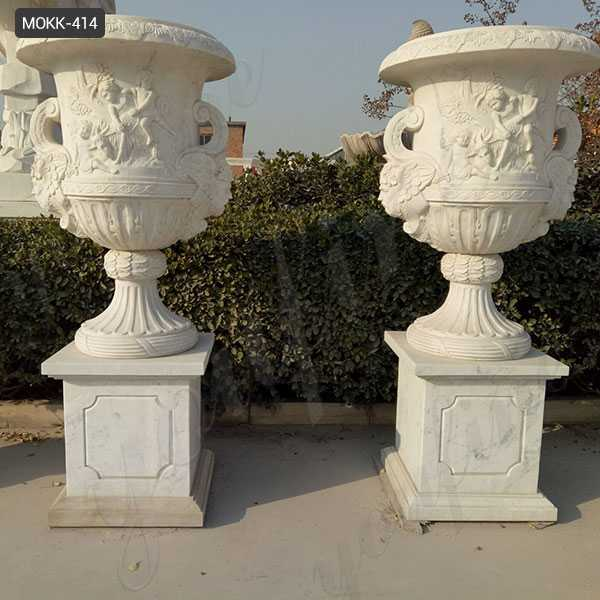 Beautiful Customize White Marble Planter Pure Hand Carved Design Outdoor Decoration MOKK-414