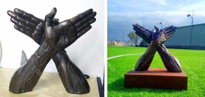 bronze butterfly hands sculpture on sale