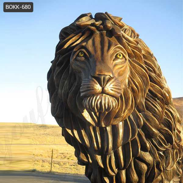 Large Outdoor Bronze Standing Lion Statue Antique Animal Sculptures for Sale–BOKK-680