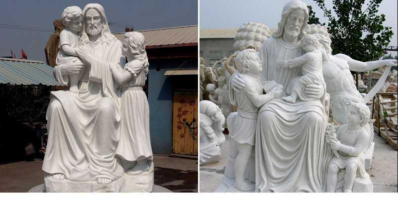jesus with children statue