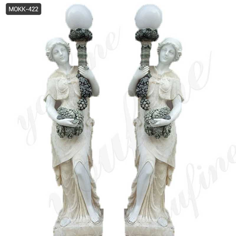 marble lady lamp statue