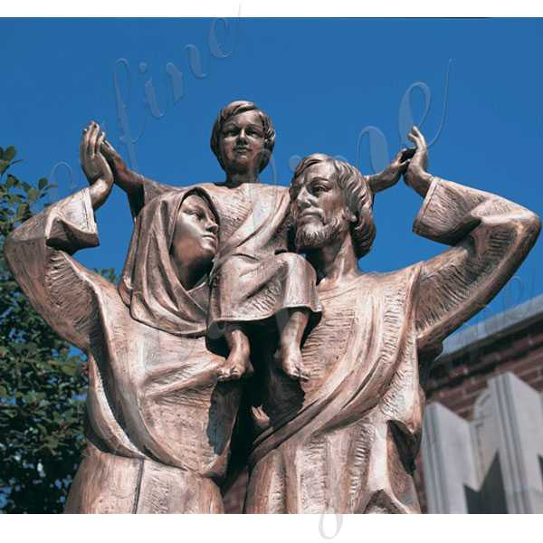 mary joseph and baby jesus bronze statue