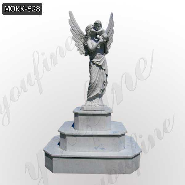 Life Size White Marble Angel Statue Female Holding Baby Sculpture for Sale MOKK-528
