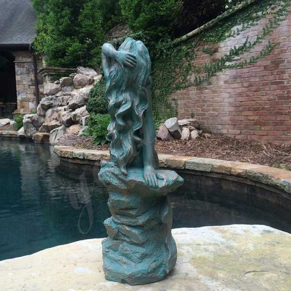 Bronze Patina Mermaid Statue for sale