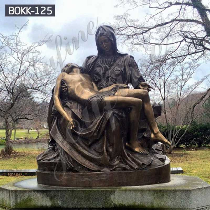 Bronze Pieta Mary Holding Jesus Statue for sale