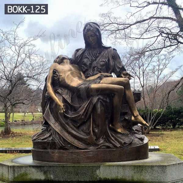Outdoor Antique Bronze Pieta Mary Holding Jesus Statue Garden Decoration for Sale BOKK-125