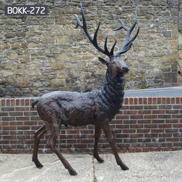 Bronze Standing Reindeer Statue