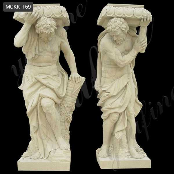 Yellow Buff Sandstone Carved Figure Porch Column Home Depot for Sale MOKK-169
