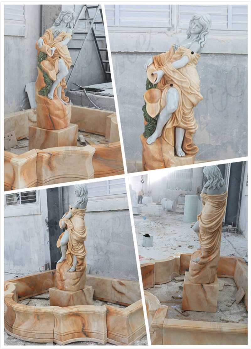 Carving Female Statue Water Fountains Natural Stone Fountain Design