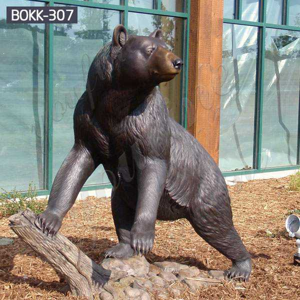 Cast Animal Bronze Wild Bear Statue Garden Decoration