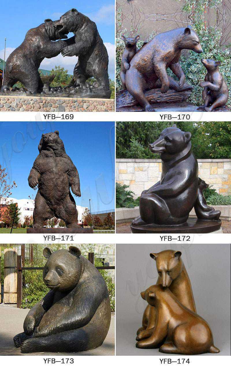 Cast Animal Bronze Wild Bear Statue