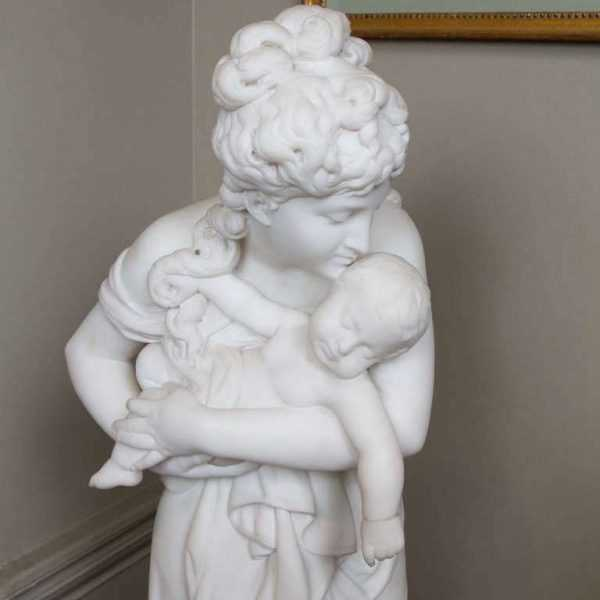 Decorative White Marble Mother and Child Stone Columns for Sale