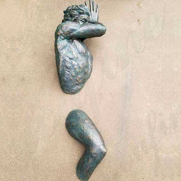 Famous Wall Hanging Modern Matteo Pugliese Bronze Man Sculpture for Sale