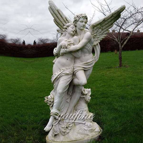 Famous art scculptures decorative Marble cupid and psyche sculpture for Garden