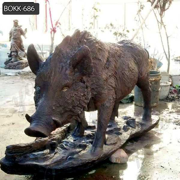 Garden Bronze Wild Boar Statue for Sale