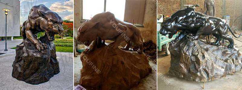 Good Price Running Leopard Bronze Statue Outdoor Animal Sculpture for Sale