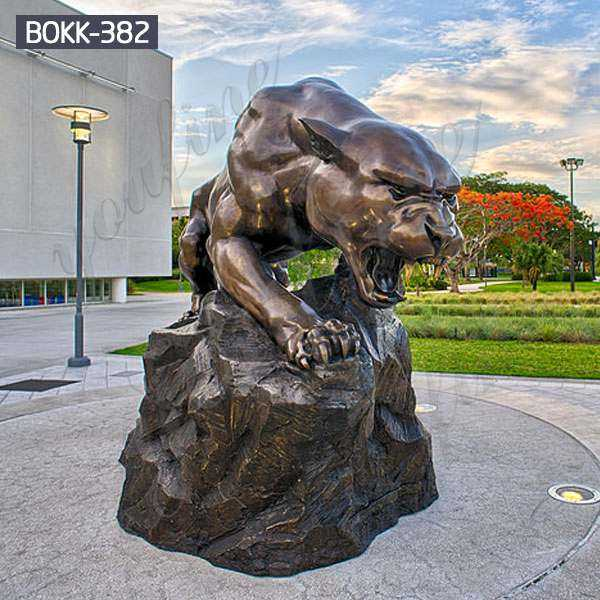 Good Price Running Leopard Bronze Statue Outdoor Animal Sculpture for Sale BOKK-382