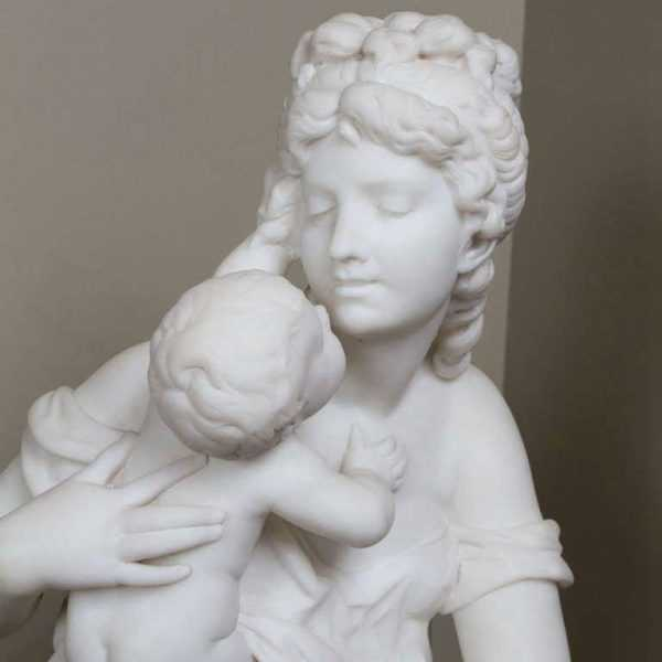 Hand Carved Decorative White Marble Mother and Child Stone Columns for Sale