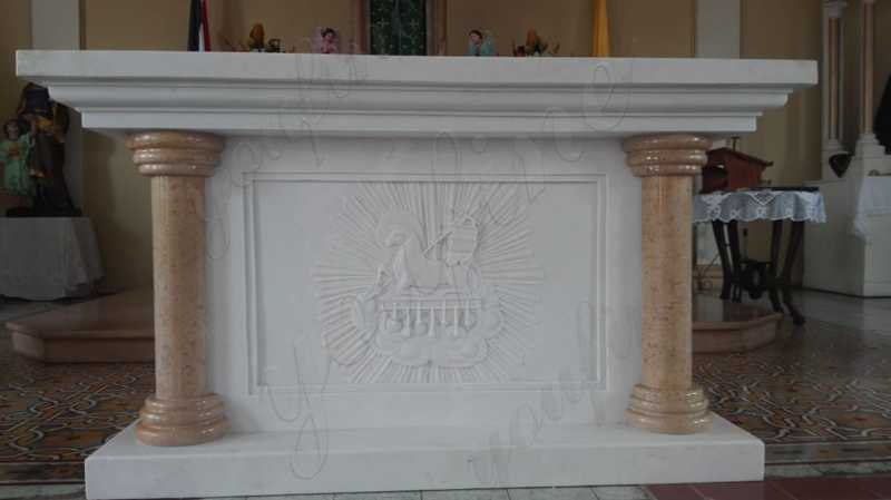 Hand Carved White Marble Altar